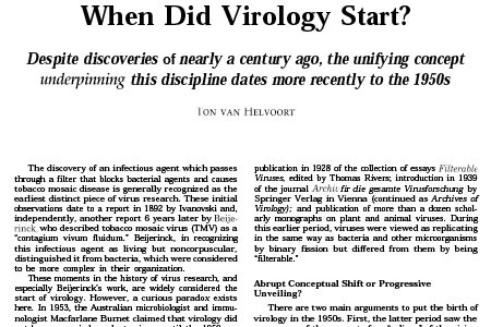 When did virology start (1996)